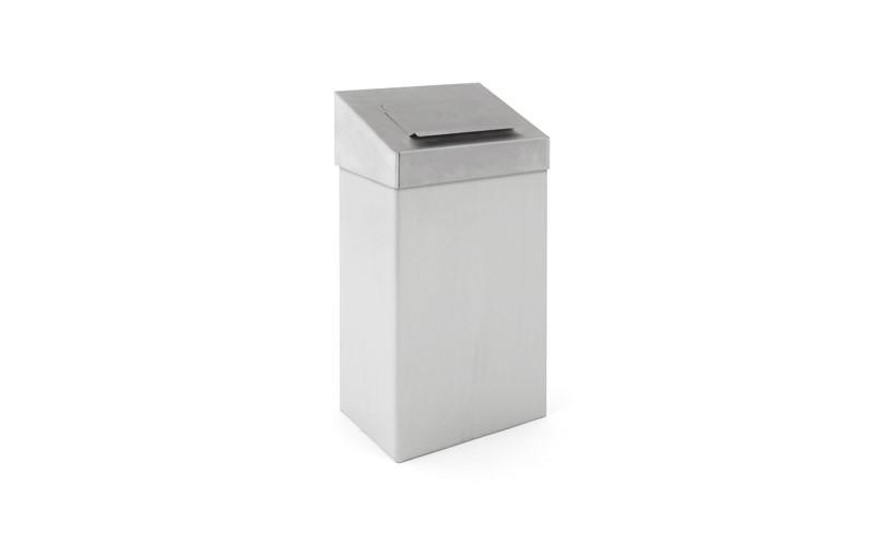 Afvalbak met hygiënische top, RVS mat - 18 ltr