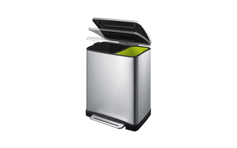 Recycling-Tritt-Mülleimer E-Cube 28+18 Liter, Matt Edelstahl