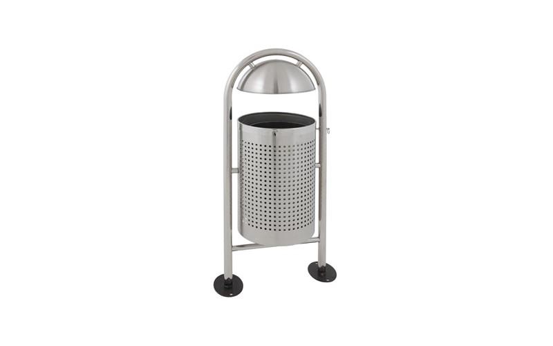 Runder Abfallbehälter für draußen mit Regendach - 27 Liter