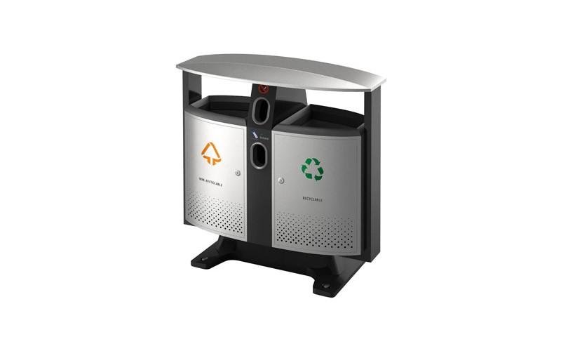 Abfallbehälter für draußen Abfalltrennung -  Batterien Fach, EKO