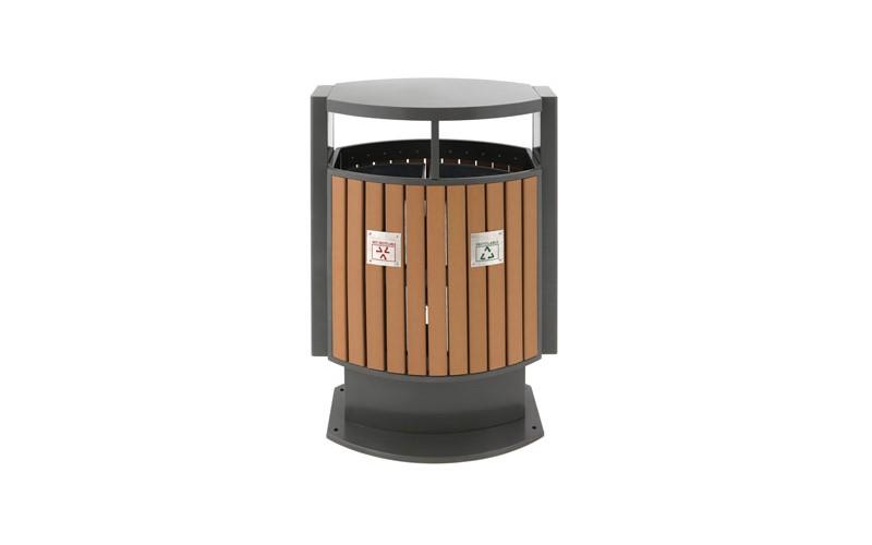 Abfallbehälter für Abfalltrennung draußen Holz Optik, EKO - 78 Liter
