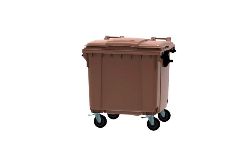 Container 1100 Liter flachem Deckel - Braun